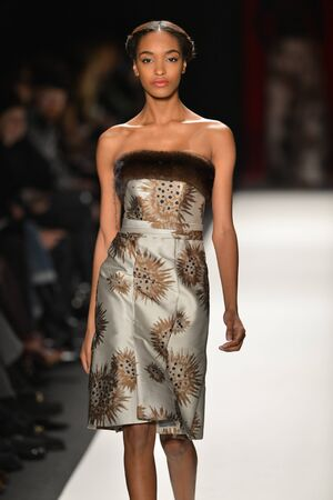 NEW YORK, NY - FEBRUARY 11: A model walks the runway at the Caroline Herrera Fall Winter 2013 fashion show during Mercedes-Benz Fashion Week on February 11, 2013, NYC. Editorial