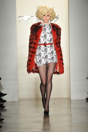 jeweled: NEW YORK - FEBRUARY 12: A model walks the runway at The Blonds Fall Winter 2013 fashion show during Mercedes-Benz Fashion Week on February 12, 2013 in New York City.