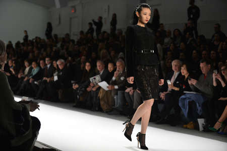 NEW YORK - FEBRUARY 08: Model walks the runway at the Carmen Marc Valvo fall 2013 fashion show during Mercedes-Benz Fashion Week on February 8, 2013 in New York City.