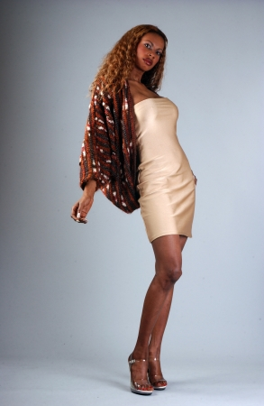 sexy black girl: Beautiful African American model posing wearing fashionable dresses