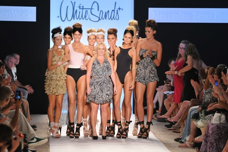 leah: MIAMI - JULY 15: Designer Leah Madden (C) and models walks runway at the White Sands Australia Swimsuit Collection for Spring Summer 2012 during Mercedes-Benz Swim Fashion Week on July 15, 2011 in Miami, FL