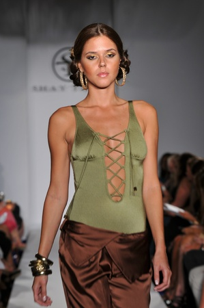 MIAMI - JULY 16: Model walks runway at the Shay Todd Swimsuit Collection for Spring Summer 2012 during Mercedes-Benz Swim Fashion Week on July 16, 2011 in Miami, FL