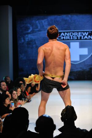 Los Angeles - March 12: A male model walks the runway at the Andrew Christian Fall Winter 2013 fashion show during Project Ethos Fashion event at club Avalon on March 12, 2013 in Los Angeles, CA.