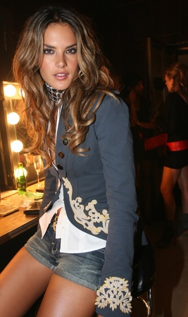 NEW YORK - SEPTEMBER 09: Model Alessandra Ambrosio poses backstage in Cipriani restaurant at the Rock and Republic Spring / Summer 2007 collection presentation during New York Fashion Week on September 09, 2006, New York. Stock Photo - 18951454