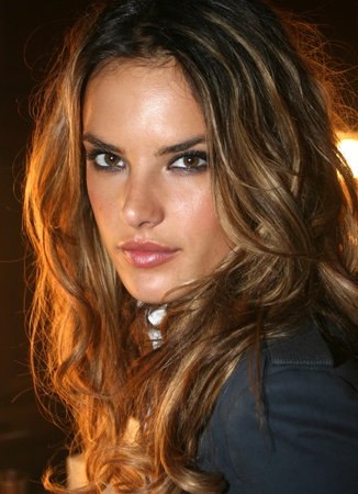 NEW YORK - SEPTEMBER 09: Model Alessandra Ambrosio poses backstage in Cipriani restaurant at the Rock and Republic Spring / Summer 2007 collection presentation during New York Fashion Week on September 09, 2006, New York. Editorial