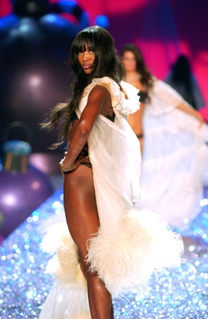 NEW YORK - NOVEMBER 9: Victorias Secret Fashion model Naomi Campbell walks the runway during the 2010 Victorias Secret Fashion Show on November 9, 2005 at the Lexington Armory in New York City.