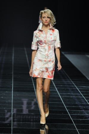 MOSCOW - OCTOBER 28: Model walks the runway at the Natalia Kolikhalova Collection for Spring Summer 2012 during Volvo Fashion Week on October 28, 2011 in Moscow, Russia