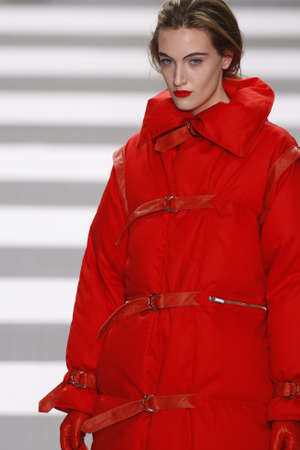 PARIS, FRANCE - MARCH 08: A model walks the runway during the Jean-Charles de Castelbajac Ready to Wear AutumnWinter 20112012 show during Paris Fashion Week at Pavillon Concorde on March 8, 2011 in Paris, France.
