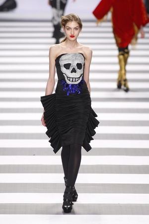 PARIS, FRANCE - MARCH 08: A model walks the runway during the Jean-Charles de Castelbajac Ready to Wear Autumn/Winter 2011/2012 show during Paris Fashion Week at Pavillon Concorde on March 8, 2011 in Paris, France.