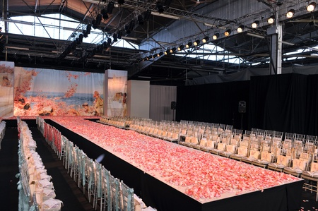 NEW YORK- OCTOBER 14: Empty runway for Claire Pettibone bridal show for Fall 2013 during NY Bridal Fashion Week on October 14, 2012 in New York City, NY