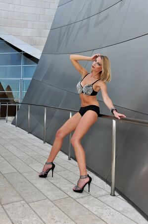 playboy: Supermodel posing sexy in front of modern metallic wall background Stock Photo