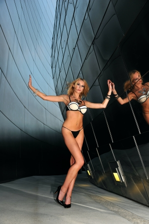Supermodel posing sexy in front of modern metallic wall background photo