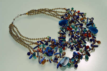 Fashion accessories handmade necklace with gemstones photo
