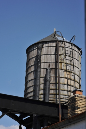 Water supply tank at New York City rooftop photo
