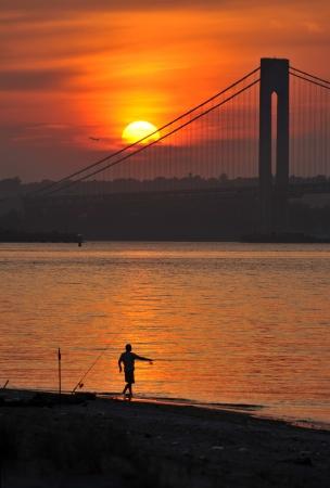 staten: Sunset over Hudson River New York