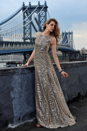 Fashion model posing sexy, wearing long evening dress on rooftop location with metal bridge construction on background 版權商用圖片