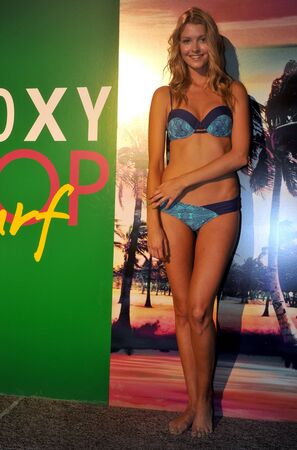 MIAMI BEACH, FL - JULY 18: A model poses at the Roxy Presentation during Mercedes-Benz Fashion Week Swim 2014 at the Raleigh Hotel on July 18, 2013 in Miami Beach, Florida