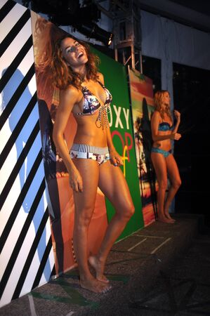 MIAMI BEACH, FL - JULY 18: Models pose at the Roxy Presentation during Mercedes-Benz Fashion Week Swim 2014 at the Raleigh Hotel on July 18, 2013 in Miami Beach, Florida