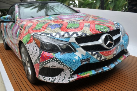 MIAMI BEACH, FL - JULY 18: A view of the 2014 Mercedes-Benz E350 Cabriolet by Mara Hoffman at Mercedes-Benz Fashion Week Swim 2014  at Raleigh Hotel on July 18, 2013 in Miami Beach, Florida. 新聞圖片