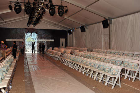 MIAMI - JULY 19: General view to empty Cabana grande tent before the Agua Bendita Collection for Spring Summer 2014 during Mercedes-Benz Swim Fashion Week on July 19, 2013 in Miami, FL