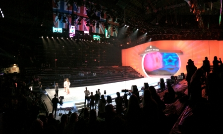 armory: NEW YORK, NY - NOVEMBER 12: A panoramic view of stage runway during the 2013 Victorias Secret Fashion Show rehearsal at the Lexington Avenue Armory on November 12, 2013 in New York City.