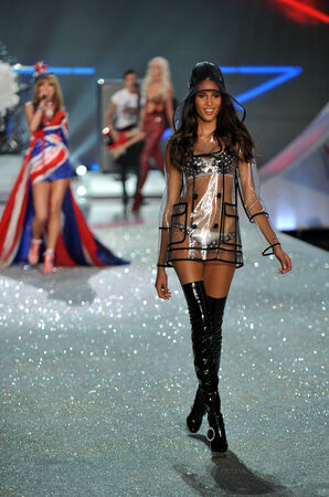 NEW YORK, NY - NOVEMBER 13: Model Cindy Bruna walks the runway at the 2013 Victoria's Secret Fashion Show at Lexington Avenue Armory on November 13, 2013 in New York City.