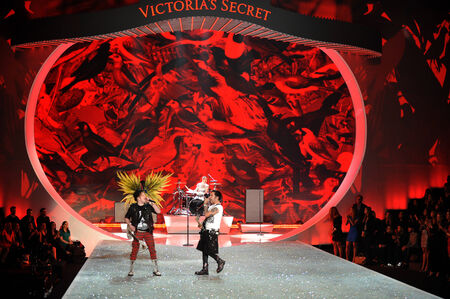 NEW YORK, NY - NOVEMBER 13: Musicians Joe Trohman, Patrick Stump, Andy Hurley, and Pete Wentz of the band Fall Out Boy perform  at the 2013 Victorias Secret Fashion Show  on November 13, 2013 in NYC.