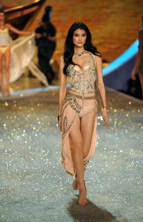 he: NEW YORK, NY - NOVEMBER 13: Model Sui He walks the runway at the 2013 Victorias Secret Fashion Show at Lexington Avenue Armory on November 13, 2013 in New York City.  Editorial
