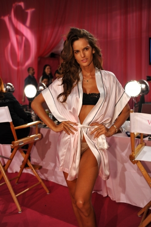 NEW YORK, NY - NOVEMBER 13: Model Izabel Goulart poses at the 2013 Victorias Secret Fashion Show hair and makeup room at Lexington Avenue Armory on November 13, 2013 in New York City.
