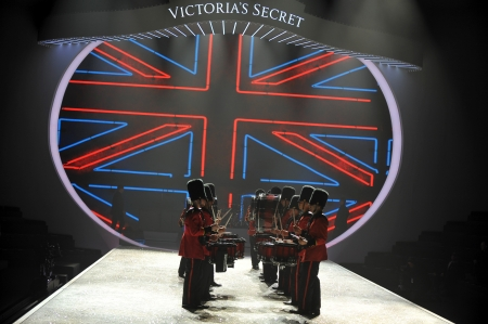 armory: NEW YORK, NY - NOVEMBER 13: British military drummers opening British invasion segment of 2013 Victorias Secret Fashion Show at Lexington Avenue Armory on November 13, 2013 in NYC.