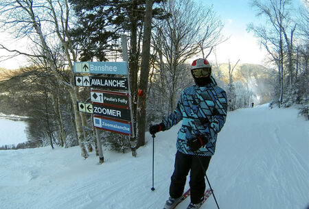 where to go: Skier thinking where to go, Cannon mtn, NH Editorial