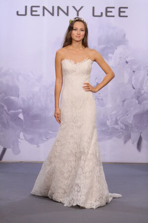 NEW YORK, NY - OCTOBER 12  A model walks the runway at the Jenny Lee 2014 Bridal collection show at hotel Waldorf Astoria on October 12, 2013 in New York City