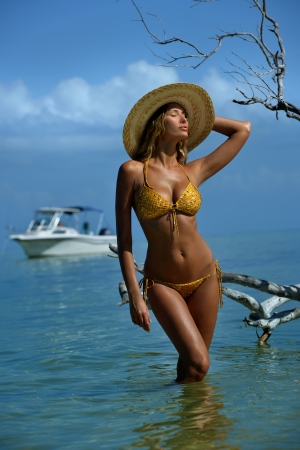 Bikini model in straw hat posing sexy in front of camera at tropical beach location with drift wood tree and fishing boat