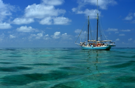 carribean: Old style wooden sale boat at tropical ocean in Carribean Editorial