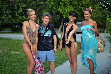 photography session: Photographer and models after photoshoot in Key West FL