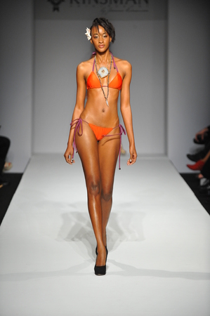 LOS ANGELES, CA - MARCH 11: A model walks runway at Miss Kinsman Swim show during Style Fashion Week Fall 2014 at The Live Event Arena on March 11, 2014 in Los Angeles