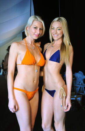 LOS ANGELES, CA - MARCH 11: Models pose backstage at Miss Kinsman Swim  Skinny Bikini show during Style Fashion Week Fall 2014 at The Live Event Arena on March 11, 2014 in LA.