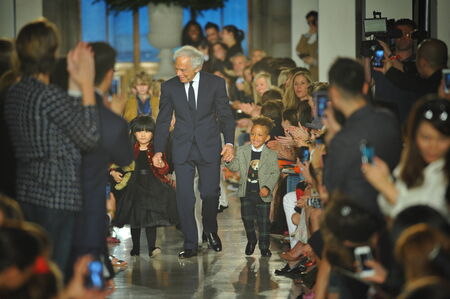 NEW YORK, NY - MAY 19: Designer Ralph Lauren walks the runway at the Ralph Lauren Fall 14 Childrens Fashion Show in Support of Literacy at New York Public Library on May 19, 2014 in New York City.