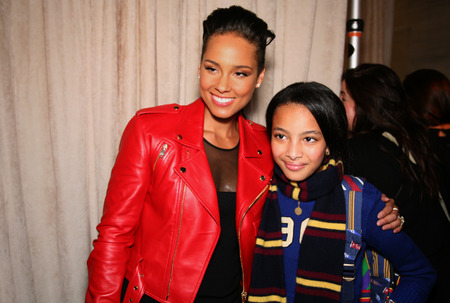 NEW YORK, NY - MAY 19: Alicia Keys and kid model before  the Ralph Lauren Fall 14 Childrens Fashion Show in Support of Literacy at New York Public Library on May 19, 2014 in New York City.
