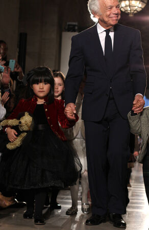 NEW YORK, NY - MAY 19: Designer Ralph Lauren and kids walk the runway at the Ralph Lauren Fall 14 Childrens Fashion Show in Support of Literacy at New York Public Library on May 19, 2014 in NYC.