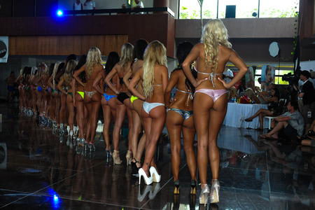 sens: CANCUN, MEXICO - MAY 04:  Models poses together during IBMS - International Bikini Model Search 2014 at the Oasis Sens Resort on May 05, 2014 in Cancun, Mexico.