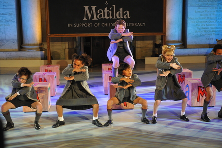 children's show: NEW YORK, NY - MAY 19: Kids at Matilda the Musical at the Ralph Lauren Fall 14 Childrens Fashion Show in Support of Literacy at New York Public Library on May 19, 2014 in New York City. Editorial