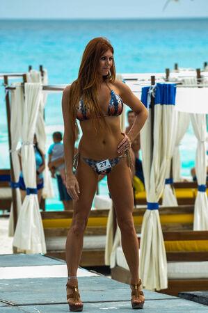 CANCUN, MEXICO - MAY 03: Models walking runway during semi-finals IBMS 2014 at the Mandala Beach Resort  on May 03, 2014 in Cancun, Mexico.