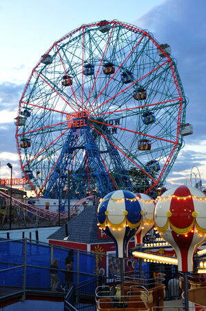 BROOKLYN, NEW YORK - MAY 31 :Wonder Wheel at the Coney Island amusement park on May 31, 2014. Denos Wonder Wheel a hundred and fifty foot eccentric Ferris wheel. This wheel was built in 1920