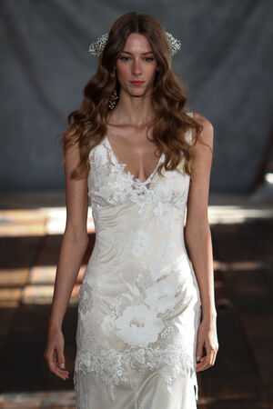 NEW YORK, NY - June 16: A model walks the runway at the Claire Pettibone Spring 2015 Romantique Bridal collection show on June 16, 2014 in New York City.