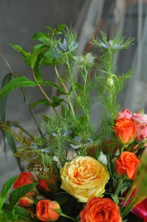 신부의 꽃 장식.