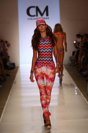 cia: MIAMI - JULY 19: Model walks runway at Cia Maritima collection at Cabana Grande during MBFW Miami Swim on July 19, 2014 in Miami Beach Florida