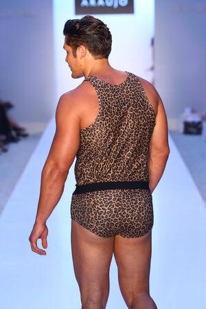 leopard print lingerie: MIAMI - JULY 21: Model walks runway at AZ Araujo Swimwear collection during MBFW Miami Swim on July 21, 2014 in Miami Beach Florida Editorial