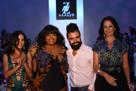 az: MIAMI BEACH, FL - JULY 21: (L-R) TV personality Adriana De Moura, designer A.Z Araujo and modelbusiness woman Cozete Gomes walk the runway at the A.Z Araujo show during Mercedes-Benz Fashion Week Swim 2015 at The Raleigh on July 21, 2014 in Miami Beach,
