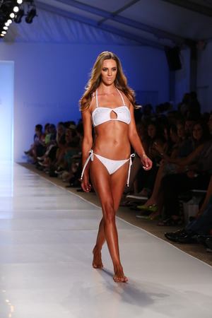 cabana: MIAMI - JULY 21: Model walks runway at Liliana Montoya Swim collection during MBFW Miami Swim at Cabana Grande on July 21, 2014 in Miami Beach Florida   Editorial